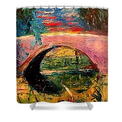Shower Curtain featuring the painting Bridge At City Park by Amzie Adams