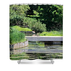 Bridge Over Pond In Japanese Garden Shower Curtain