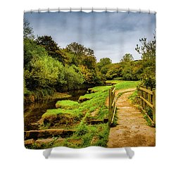 Bridge With Falling Colors Shower Curtain