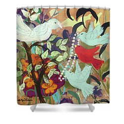 Shower Curtain featuring the painting Bringin' Momma Beads by Robin Maria Pedrero