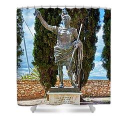 Shower Curtain featuring the photograph Bronze Copy Of Augustus Of Prima Porta Sculpture In Spain by Eduardo Jose Accorinti