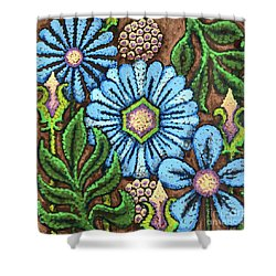 Brown And Blue Floral 1 Shower Curtain