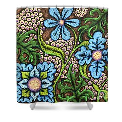 Brown And Blue Floral 2 Shower Curtain