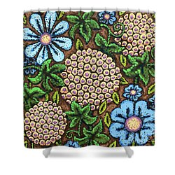 Brown And Blue Floral 3 Shower Curtain