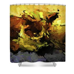 Brown Cat On The Cushion Shower Curtain
