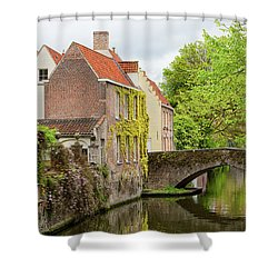 Shower Curtain featuring the photograph Bruges Footbridge Over Canal by Nathan Bush