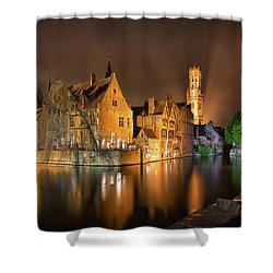 Shower Curtain featuring the photograph Brugge Belgium Belfry Night by Nathan Bush