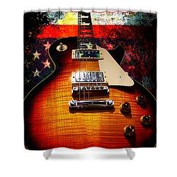 Burst Guitar American Flag Background Shower Curtain