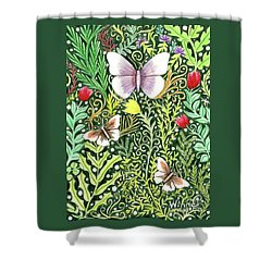 Butterflies In The Millefleurs Shower Curtain
