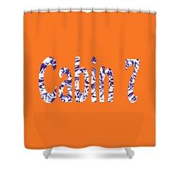 Cabin 7 Blue White Orange Shower Curtain