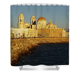 Shower Curtain featuring the photograph Cadiz Cathedral From Southern Field Spain by Pablo Avanzini