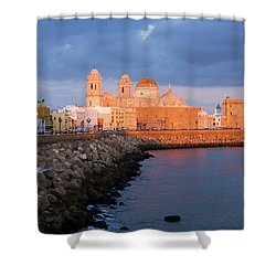 Shower Curtain featuring the photograph Cadiz Skyline And Cathedral Andalucia Spain by Pablo Avanzini