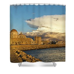 Shower Curtain featuring the photograph Cadiz Skyline And Cathedral Under Cumulonimbus by Pablo Avanzini
