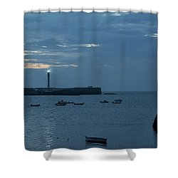 Shower Curtain featuring the photograph Caleta Cove At Dusk Between Castles Cadiz Spain by Pablo Avanzini