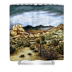 California Desert Landscape - Watercolor Art Painting Shower Curtain