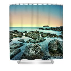 Calm Rocky Coast In Greece Shower Curtain