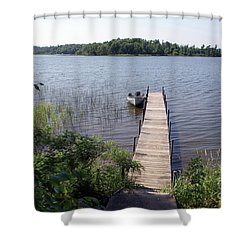Shower Curtain featuring the photograph Camelot Island Borden Lake by Gary Eason
