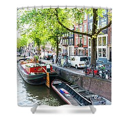 Canal Boats In Amsterdam Shower Curtain