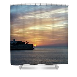 Shower Curtain featuring the photograph Candelaria Bulwark At Sunset Cadiz Spain by Pablo Avanzini