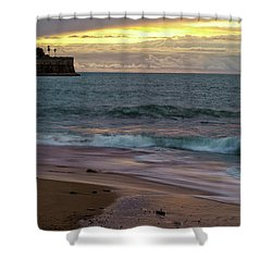 Shower Curtain featuring the photograph Candelaria Bulwark From Saint Philippe Cadiz Spain by Pablo Avanzini