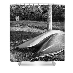 Shower Curtain featuring the photograph Canoes And A Boathouse Bnw by Rachel Hannah