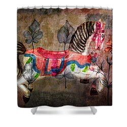 Shower Curtain featuring the photograph Carousel Prancing Dream by Michael Arend