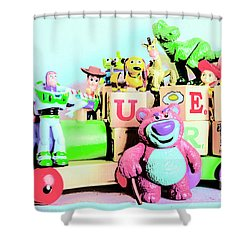 Carriage Of Cartoon Characters Shower Curtain
