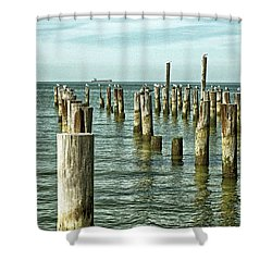Shower Curtain featuring the photograph Casino Pilings At Cape Charles Virginia by Bill Swartwout Fine Art Photography