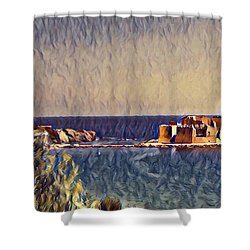 Shower Curtain featuring the digital art Castle In Sea by Lucia Sirna