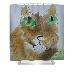 Cat Face Yellow Brown With Green Eyes Shower Curtain