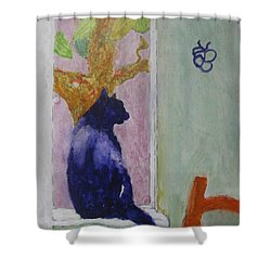 cat named Seamus Shower Curtain