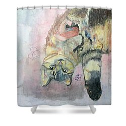 Shower Curtain featuring the painting Playful Cat Named Simba by AJ Brown