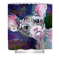 Cat Portrait My Name Is Luna Shower Curtain