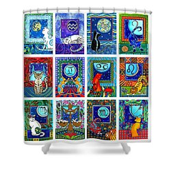 Cat Zodiac Paintings  Shower Curtain