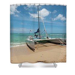 Catamaran On Waikiki Shower Curtain