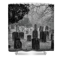 Shower Curtain featuring the photograph Cemetery In The Pines Bw by Kristia Adams