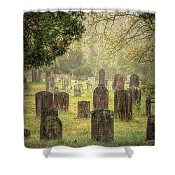 Shower Curtain featuring the photograph Cemetery In The Pines by Kristia Adams