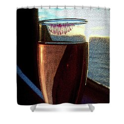Shower Curtain featuring the photograph Champagne Glass Lipstick by Bill Swartwout Fine Art Photography