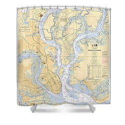 Charleston Harbor, Noaa Chart 11524 Shower Curtain