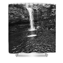 Shower Curtain featuring the photograph Cherokee Falls Bnw by Rachel Hannah