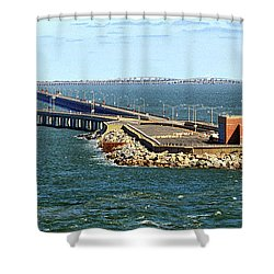 Shower Curtain featuring the photograph Chesapeake Bay Bridge Tunnel E S V A by Bill Swartwout Fine Art Photography