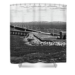 Shower Curtain featuring the photograph Chesapeake Bay Bridge Tunnel E S V A Black And White by Bill Swartwout Fine Art Photography