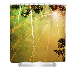 Yellow Fireworks Shower Curtain