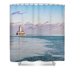 Chicago Harbor Light Landscape Shower Curtain