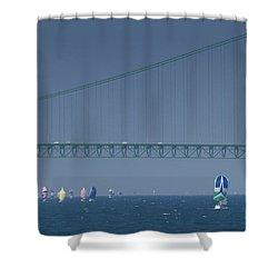 Chicago To Mackinac Yacht Race Sailboats With Mackinac Bridge Shower Curtain