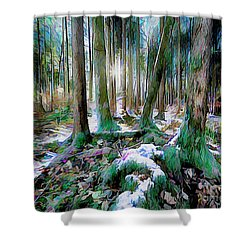 Shower Curtain featuring the digital art Chorus Of Trees by Edmund Nagele