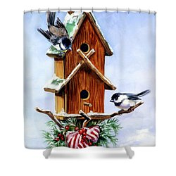 Christmas Birdhouse Shower Curtain