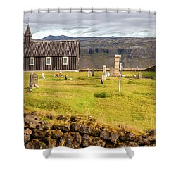 Church Cemetery Of Iceland Shower Curtain
