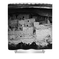 Shower Curtain featuring the photograph Cliff Palace In Black And White by Jon Burch Photography
