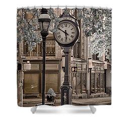 Clock On Street Shower Curtain